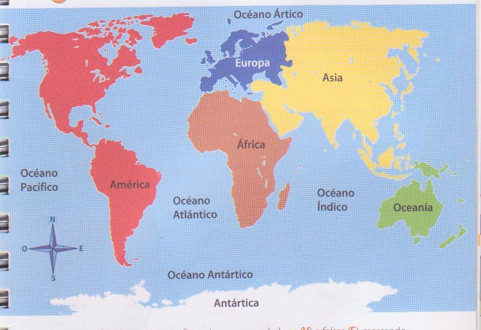 Cuales Son Los 6 Continentes Del Planisferio